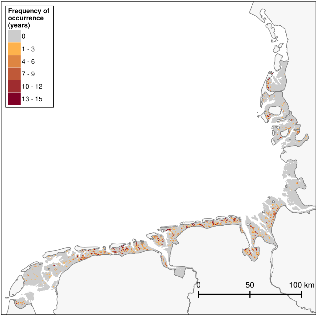 Frequency of occurrence of blue mussel, Pacific oyster and mixed beds/reefs