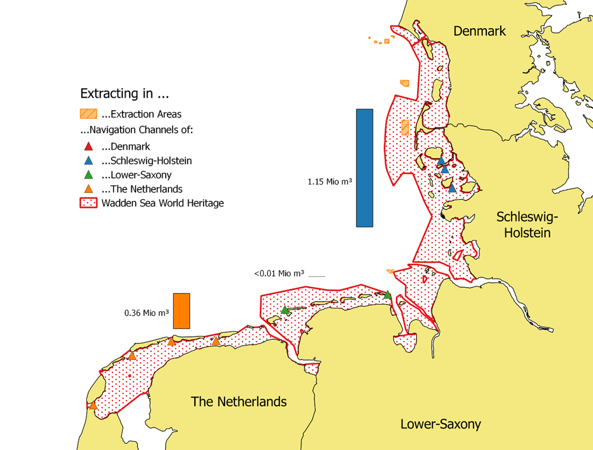 Locations and averaged amounts of extracted sediments per year (2006-2013) within the Wadden Sea areas of the Netherlands, Germany
