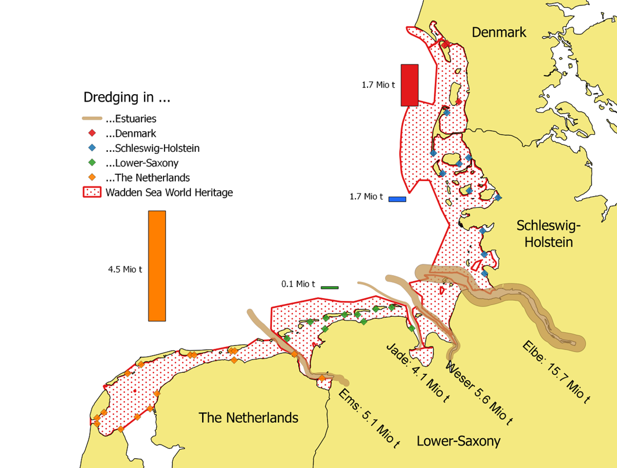 Locations and averaged amounts of dredged sediments per year (2006-2013) within the Wadden Sea