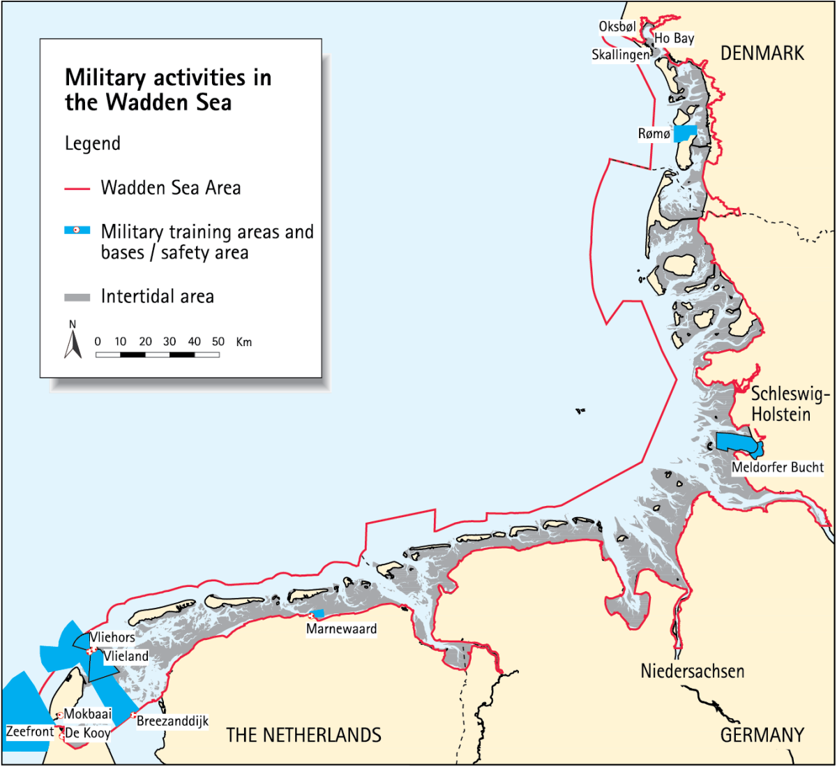 Figure 1. Military activities in the Wadden Sea Area.