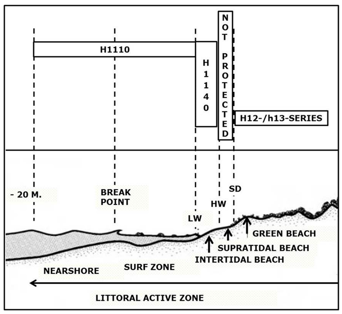 Figure 4. The littoral active zone (after McLachlan & Brown, 2006) with Natura 2000 habitat types. LW = low water linel HW = high water line; SD=storm driftline. The supratidal beach is not or only partly protected under the Birds and Habitats Directive.