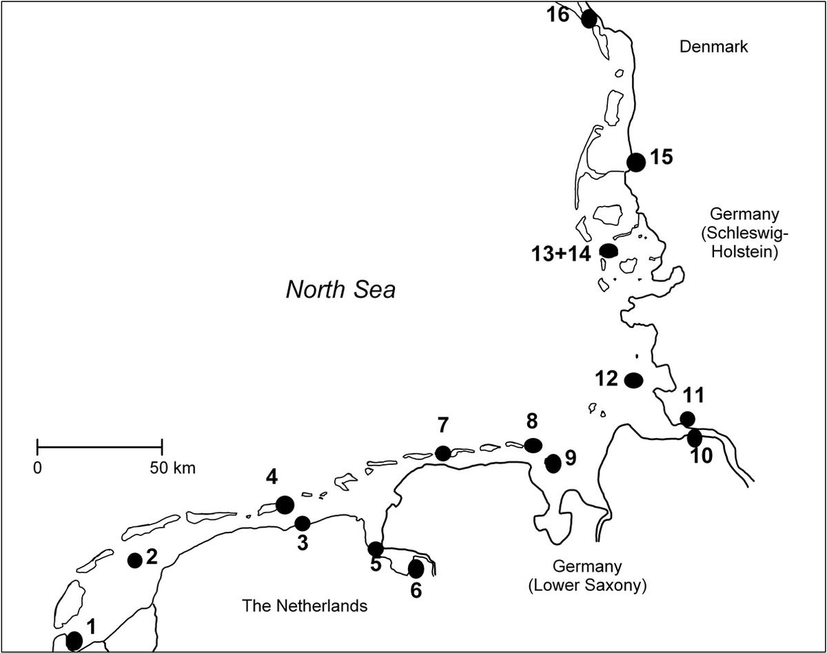 Figure 1. Annual sampling sites of common tern and oystercatcher eggs analysed for contaminants since 1998.