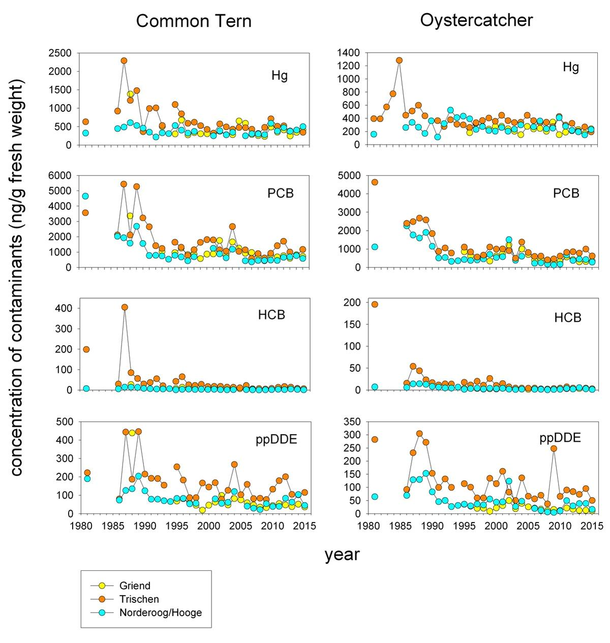 Figure 5. Long-term (1981-2015) trends of concentrations of mercury, PCBs, HCB and ppDDE in common tern and oystercatcher eggs from three selected breeding sites in the Wadden Sea