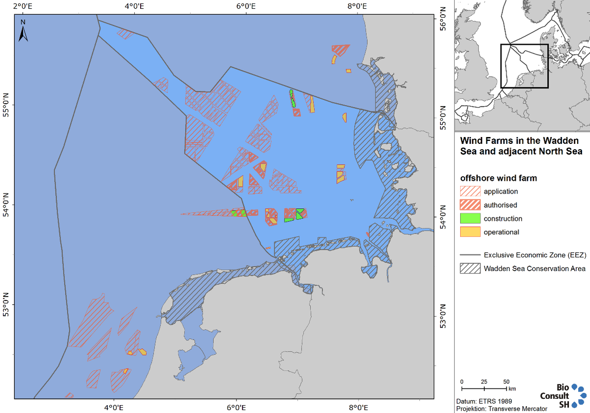 Figure 5. Overview of wind farm developments in Denmark, Germany and the Netherlands, 2016. For detailed information on each wind farm visit www.4coffshore.com.