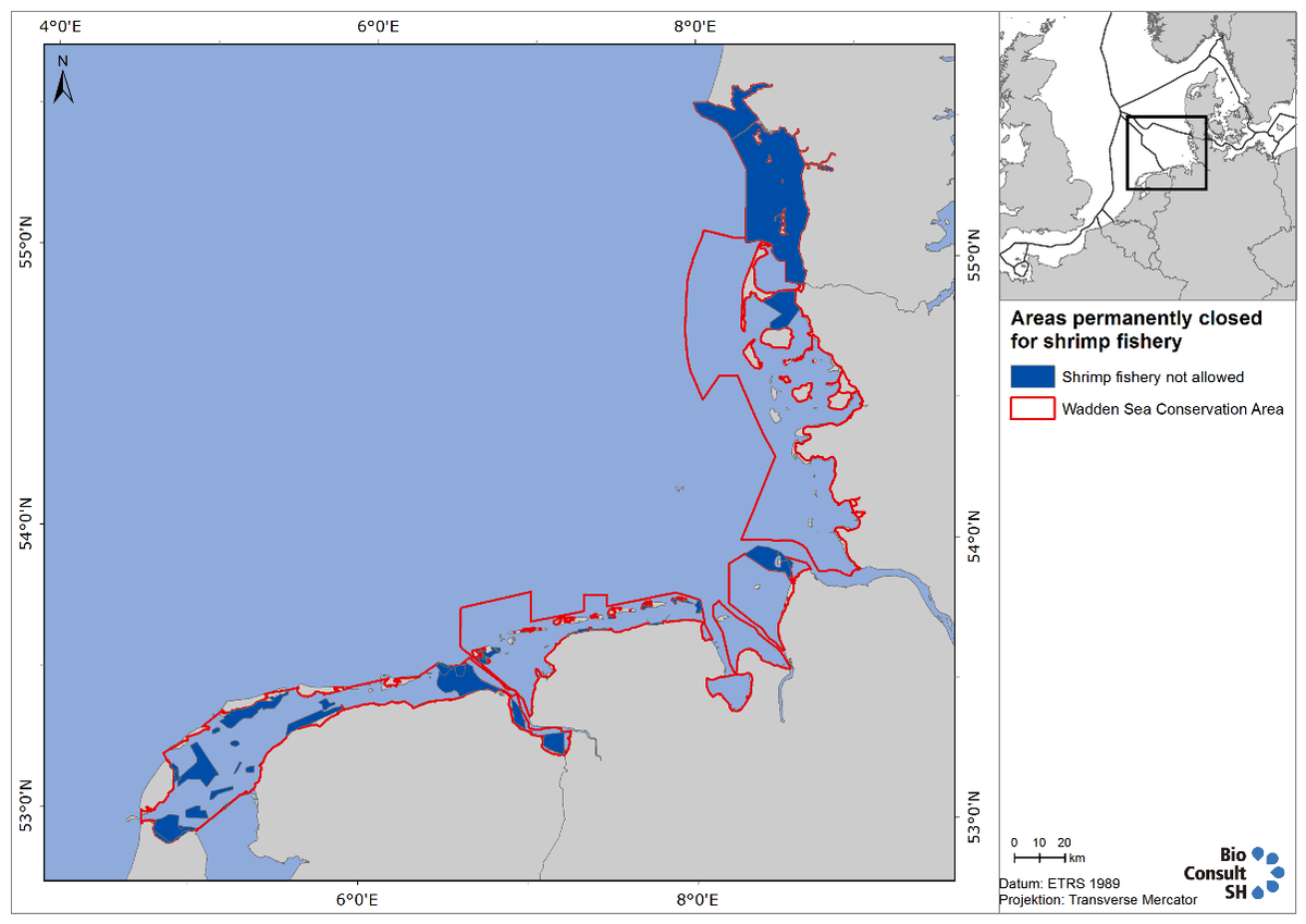 Figure 4. Map showing Wadden Sea areas closed year-round to shrimp fishery.