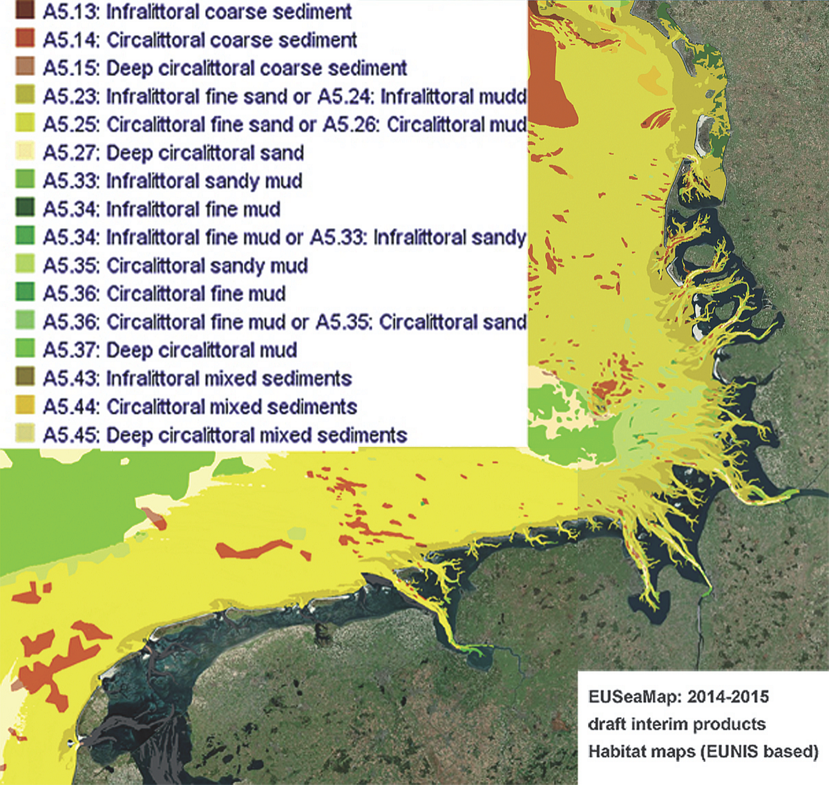 Figure 9. Habitat map of the Wadden Sea and adjacent offshore areas based on EUNIS classification (after EMODnet 2015).