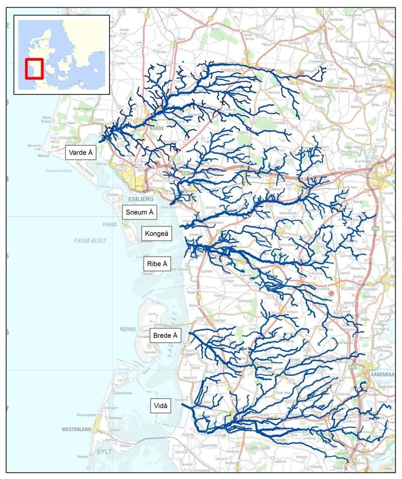 Map of the main Danish Wadden Sea rivers