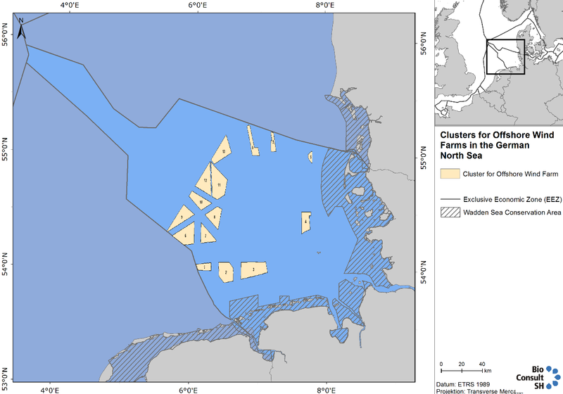 Cable and pipeline routes for wind farm grid connections and gas/hydrocarbon connections; Right (B): Number and position of suitable wind farms clusters in the German Bight (Source: Bundesamt für Schifffahrt und Hydrographie).